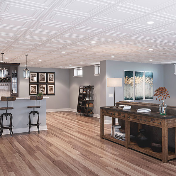 A luxe, lower-level look DIY ceiling project