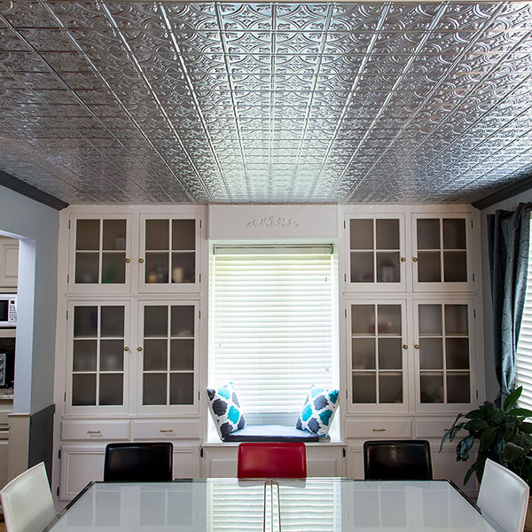 Traditional tiles highlight beautiful built-ins DIY ceiling project