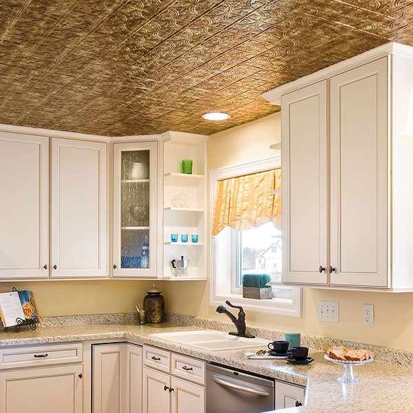 Cozy kitchen bathed in bronze glow DIY ceiling project