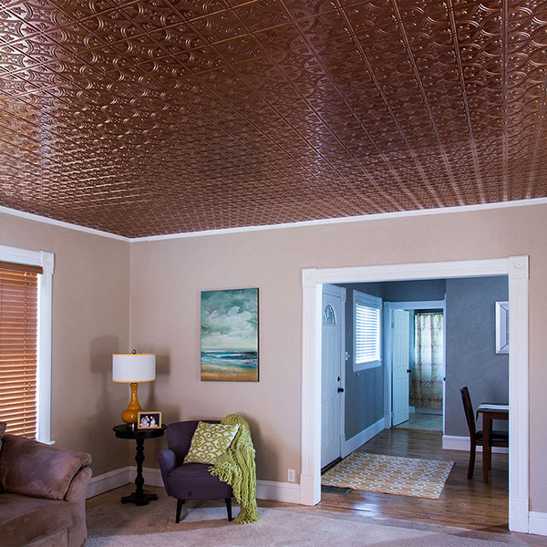 Added interest over a modern living room DIY ceiling project