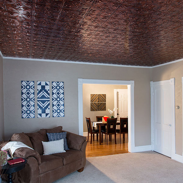Copper ceiling warms sitting area DIY ceiling project