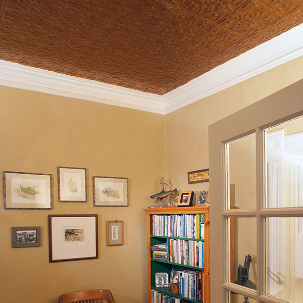 High ceiling highlights home office DIY ceiling project