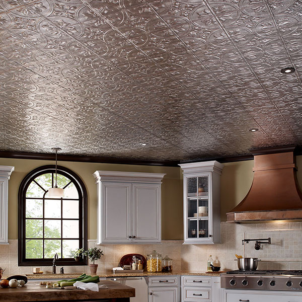 Gourmet kitchen with grand ceiling DIY ceiling project