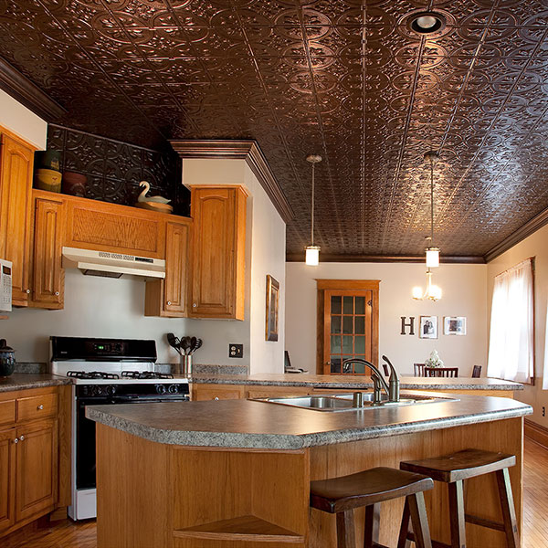 Faux tin adds the finishing touch DIY ceiling project