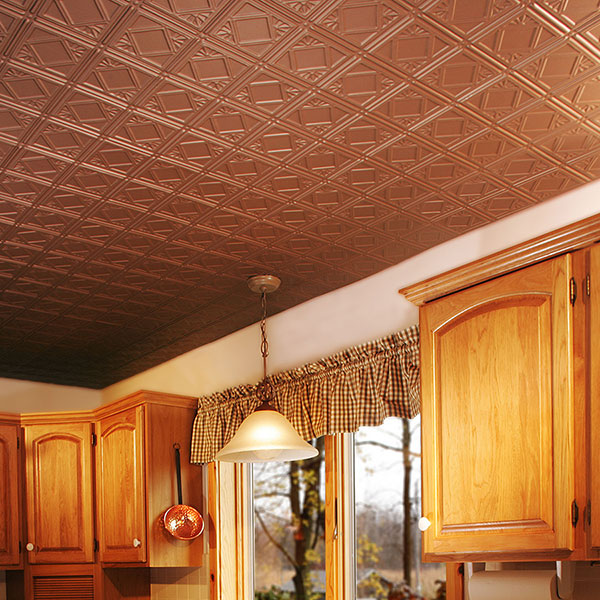 Copper ceiling accents traditional kitchen DIY ceiling project