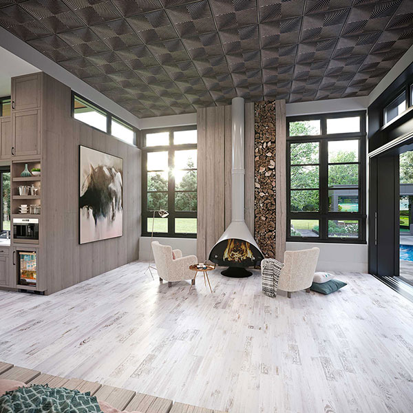 Dramatic textural living room DIY ceiling project