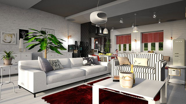 Room with black and white color palette