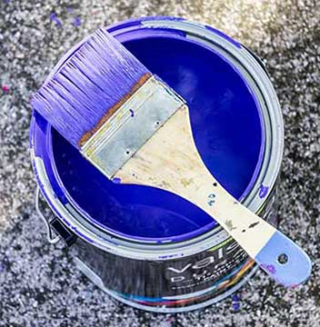 paint bucket with blue paint