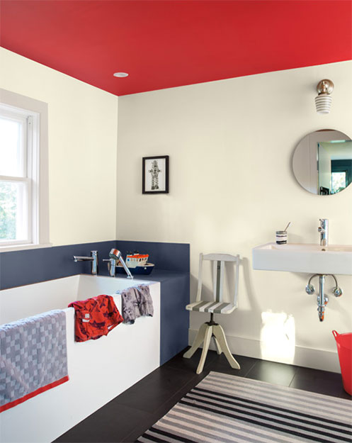 brilliant and bold kids bathroom painted ceiling project