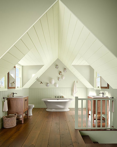 serene bathroom with angled ceilings project