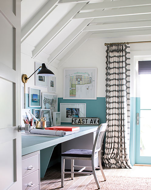 calming colors encourage focus in home office painted ceiling project