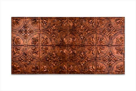 Copper Ceiling Warms Sitting Area-Fasade traditional 2 in Moonstone Copper