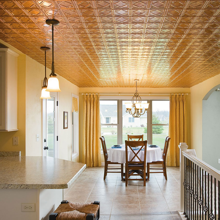 Ceiling with a Golden Glow Warms Kitchen