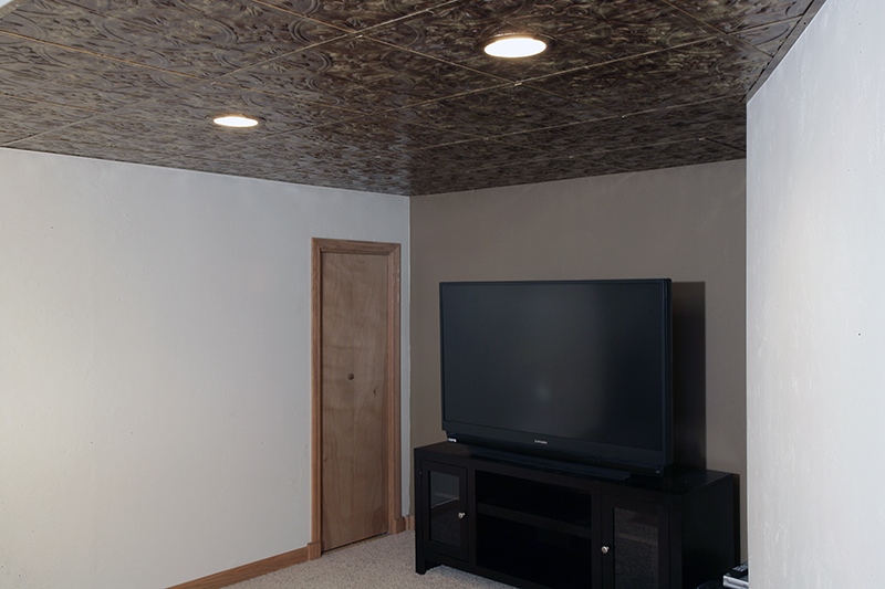 simple DIY basement ceiling project with Fasade faux tin ceiling tiles
