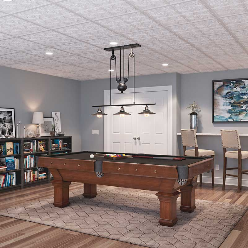 simple DIY basement ceiling project with Genesis performance vinyl Icon Coffer ceiling tiles in black