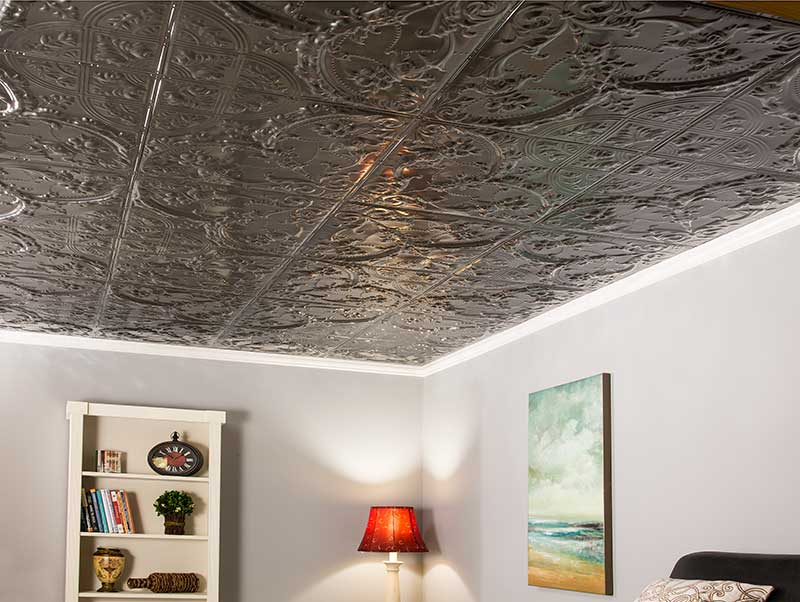simple DIY basement ceiling project with Great Lakes Tin ceiling tiles